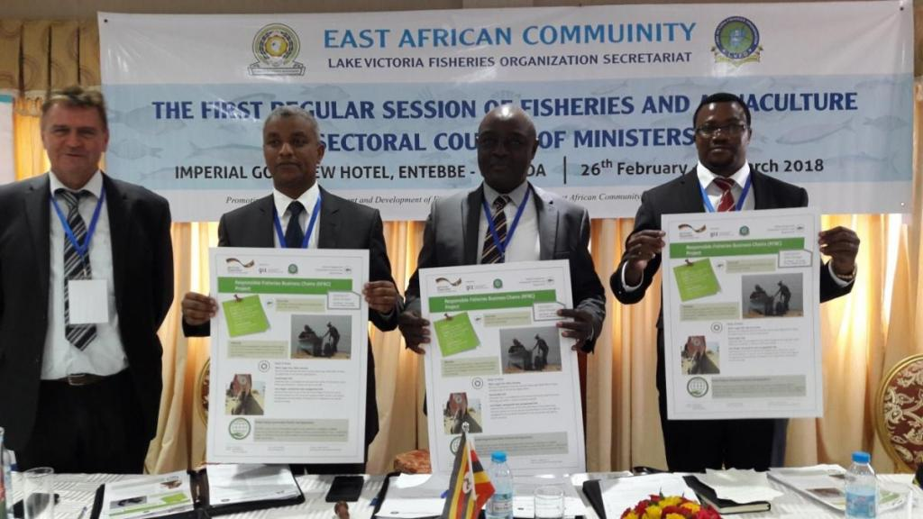 From left to right: Adolf Gerstl (RFBC Project team leader), Mr. Harun Rashid Khator (authorizes representative of the Minister of Agriculture and Irrigation in Kenya), Hon. Mr. Ssempijja Vincent Bamulangaki (Minister of Agriculture, Animal Industry and Fisheries in Uganda) and Hon. Mr. Luhaga Joelson Mpina (Minister of Livestock and Fisheries in Tanzania)